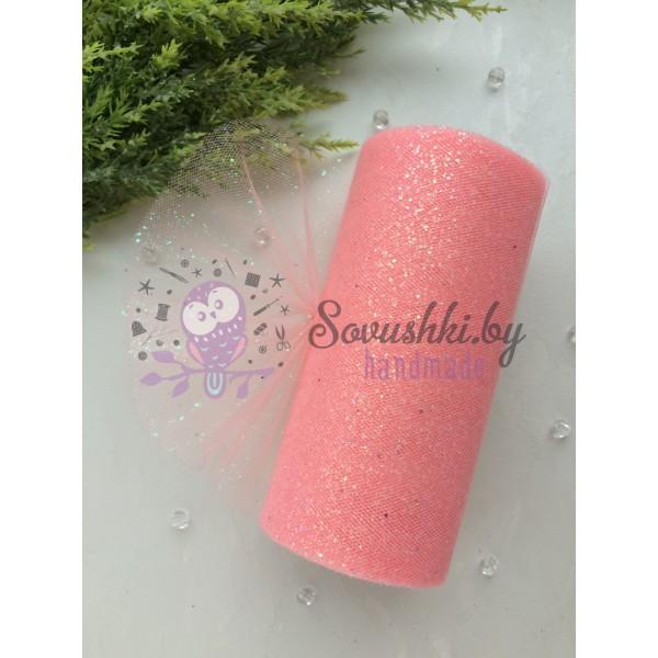 Фатин с блестками, розовый персик
