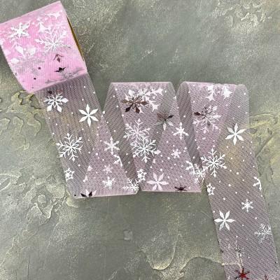 """Фатин 5,5 см """"Снежинки"""", розовый/серебро"""