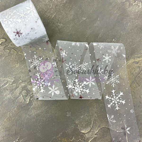 """Фатин 5,5 см """"Снежинки"""", белый/серебро"""