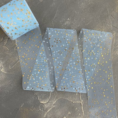 "Фатин 5,5 см ""Звёздочки"", голубой/золото"