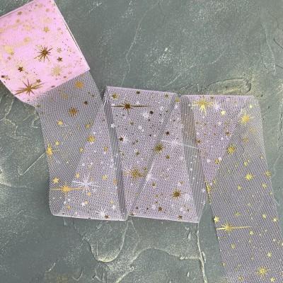 """Фатин 5,5 см """"Фейерверки"""", нежно-розовый/золото"""