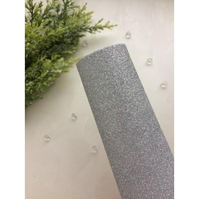 Глиттерный фоамиран 2 мм Premium, серебро