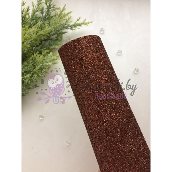 Глиттерный фоамиран 2 мм Premium, шоколадный