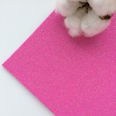 Глиттерный фоамиран 2 мм Premium, ярко-розовый