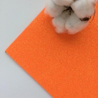 Глиттерный фоамиран 2 мм Premium, ярко-оранжевый перламутр