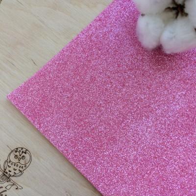 Глиттерный фоамиран 2 мм Premium, темно-розовый