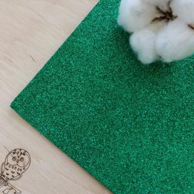 Глиттерный фоамиран 2 мм Premium, темно-зеленый