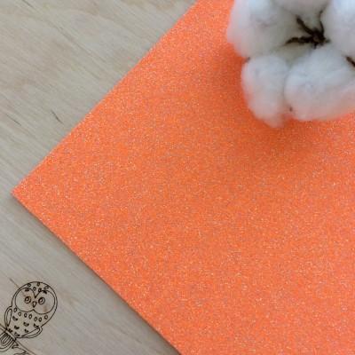 Глиттерный фоамиран 2 мм Premium, оранжевый перламутр