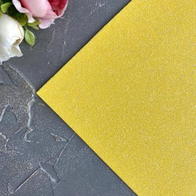 Глиттерный фоамиран 1,5 мм темно-желтый перламутр