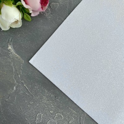 Глиттерный фоамиран 1,5 мм белый
