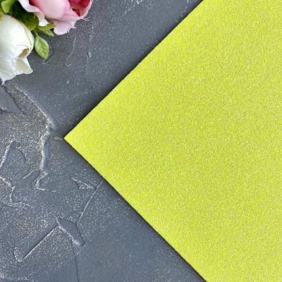Глиттерный фоамиран 2 мм Premium, желтый перламутр