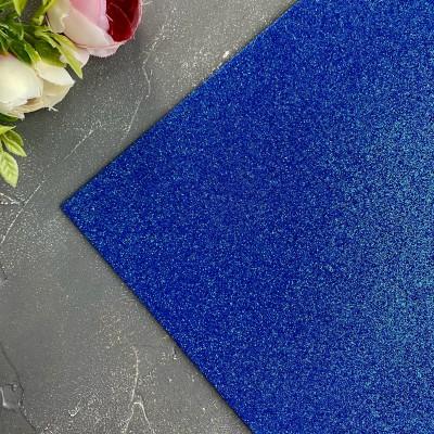 Глиттерный фоамиран 2 мм Premium, синий перламутр