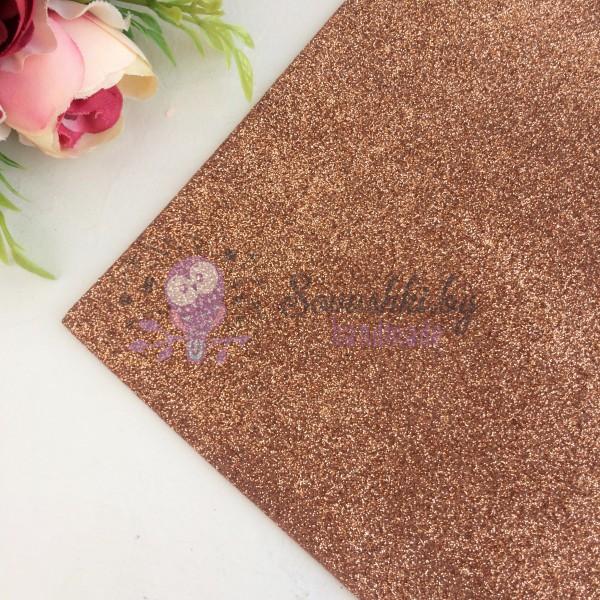 Глиттерный фоамиран 2 мм Premium, коричневый
