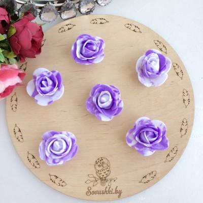 Роза из фоамирана мраморная, фиолетовый