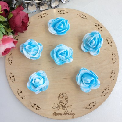 Роза из фоамирана мраморная, голубой