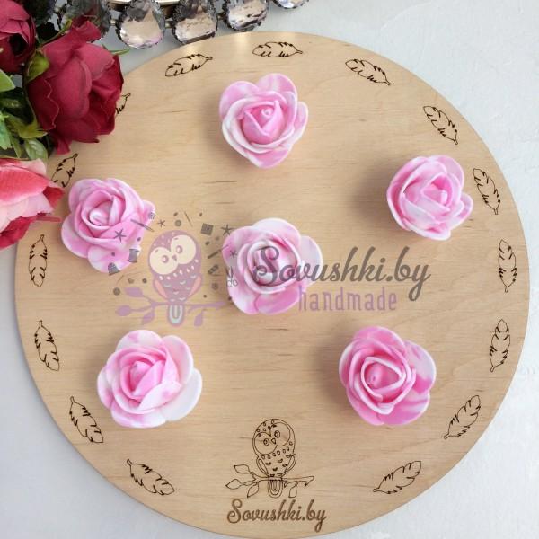 Роза из фоамирана мраморная, розовый