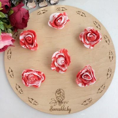Роза из фоамирана мраморная, красный
