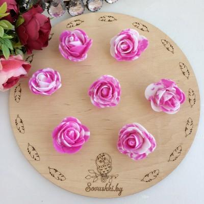 Роза из фоамирана мраморная, фуксия