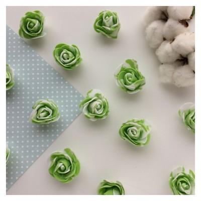 Роза из фоамирана мраморная, зеленый