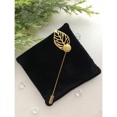 Основа для броши (шляпная булавка) с листом, золото