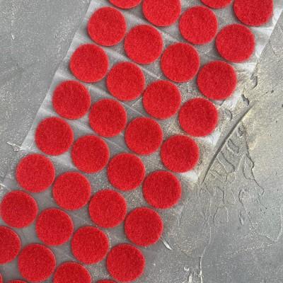 Липучка для рукоделия круглая самоклеящаяся, красная