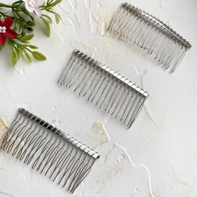 Гребень для волос металлический 7,5 см серебро