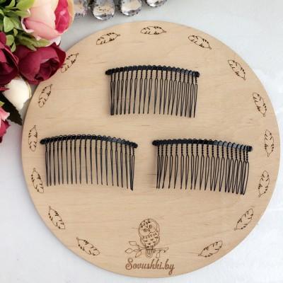 Гребень для волос металлический, 8 см чёрный