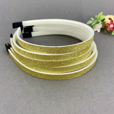 Ободок для волос с блестками (пластик) 1 см, светлое золото