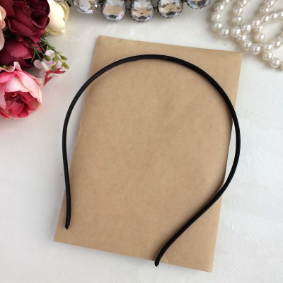 Ободок (основа) для волос металл+ткань, черный