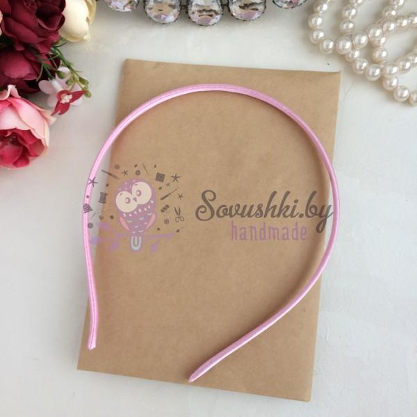 Ободок (основа) для волос металл+ткань, светло-розовый