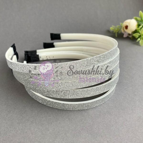 Ободок для волос с блестками (пластик) 1 см, серебро