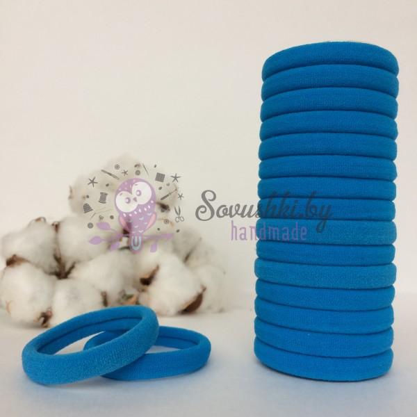 Резинка для волос 4 см, темно-голубой