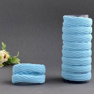 Резинка для волос рифленая 4 см, небесно-голубой