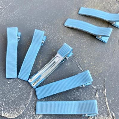 Основа-зажим для заколки с репсовой лентой, голубой