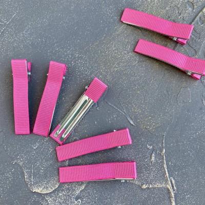 Основа-зажим для заколки с репсовой лентой, темно-розовый