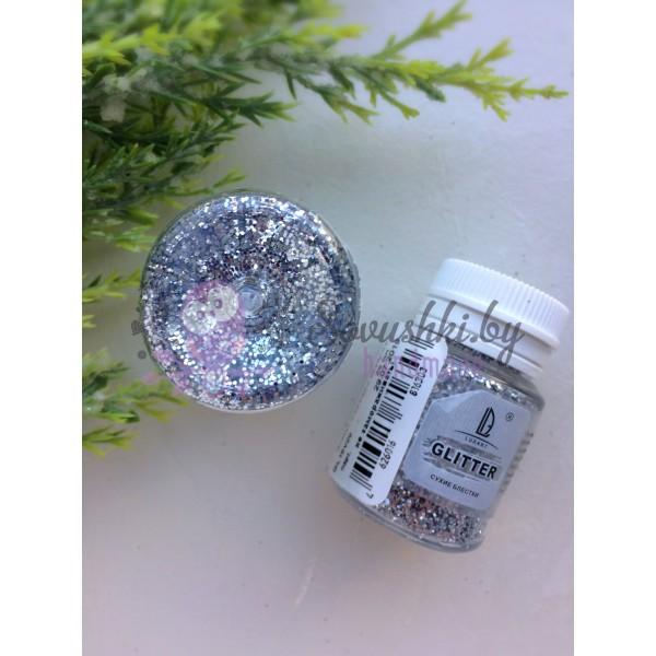 Декоративные блёстки LUXART LuxGlitter серебро крупное