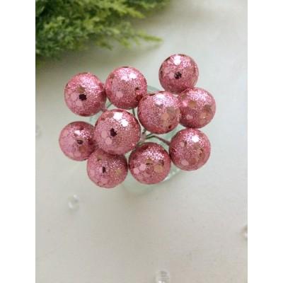 Ягодки на веточке с пайетками, розовые