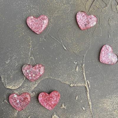 """Кабошон """"Сердечко с блестками"""", светло-розовый"""