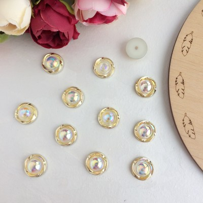Кабошоны флоризель пластик 18 мм, светлое золото