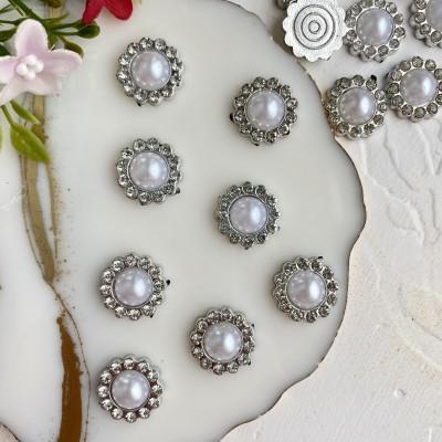 Кабошоны флоризель со стразами пластик 18 мм, серебро