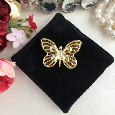 "Кабошон ""Бабочка"", коричневый/золото"