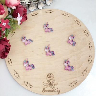 Кабошон-вырубка Единорожек с блестками, розовый (1)