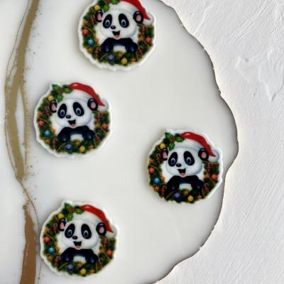 """Кабошон-вырубка """"Новогодняя панда"""""""