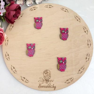 """Кабошон-вырубка """"Совушка"""", розовая"""