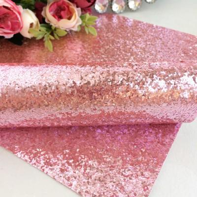 Кожзам с крупными блестками, светло-розовый