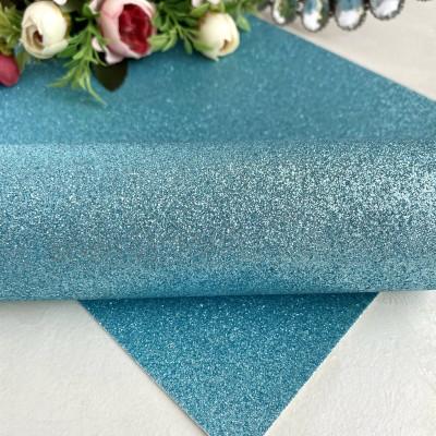 Декоративный кожзам с глиттером, голубой (10)
