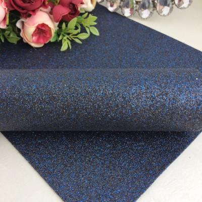 Декоративный кожзам мелкий глиттер, темно-синий