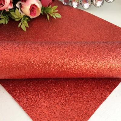 Декоративный кожзам мелкий глиттер, красный