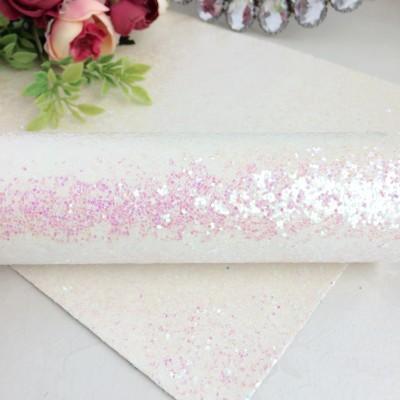 Кожзам с крупными блестками, бело-розовый хамелеон