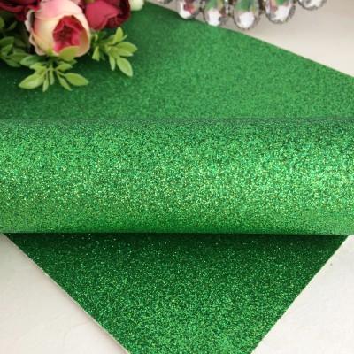 Декоративный кожзам мелкий глиттер, зеленый